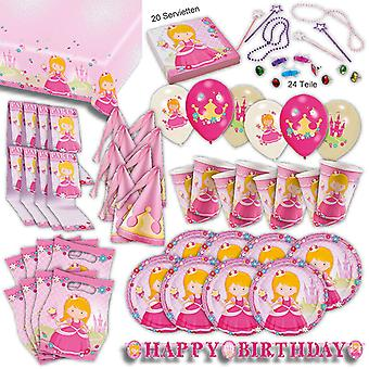Princess pink party set XL 100-teilig for 8 guests Princess party party package