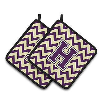 Letter H Chevron Purple and Gold Pair of Pot Holders