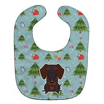 Christmas Wire Haired Dachshund Chocolate Baby Bib