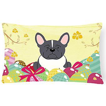 Easter Eggs French Bulldog Black White Canvas Fabric Decorative Pillow