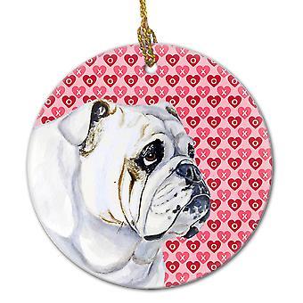 Buldogue inglês Valentine do amor e corações ornamento cerâmico
