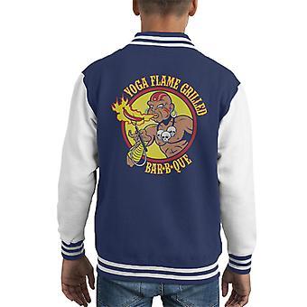 Street Fighter Dhalsim Yoga Flame Grilled BBQ Kid's Varsity Jacket