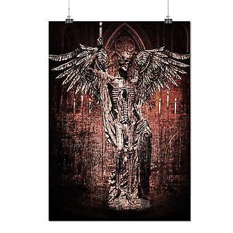 Matte or Glossy Poster with Angel Skeleton Rock Skull | Wellcoda | *y747