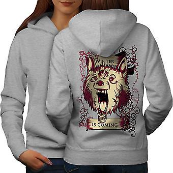 Winter Is Here Animal Women GreyHoodie Back | Wellcoda
