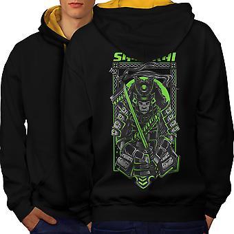 Samurai Killer Fashion Men Black (Gold Hood) Contrast Hoodie Back | Wellcoda