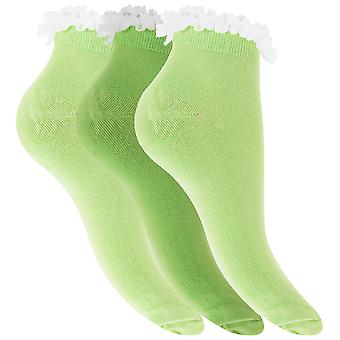 Womens/Ladies Cotton Rich Plain Trainer Socks With Frill Trim (Pack Of 3)