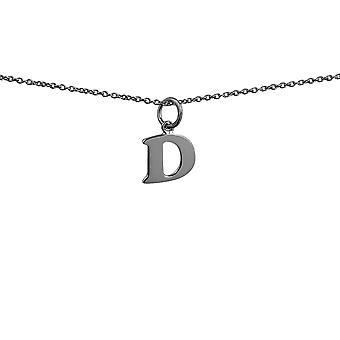 Серебряный 12x10mm равнина первоначального D Кулон с Роло цепи 24 дюймов