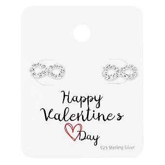 Infinity Ear Studs On Happy Valentine's Day Card - 925 Sterling Silver Sets - W35878x