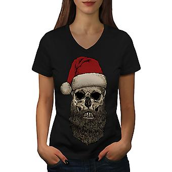 Dead Santa Claus Skull Women BlackV-Neck T-shirt | Wellcoda