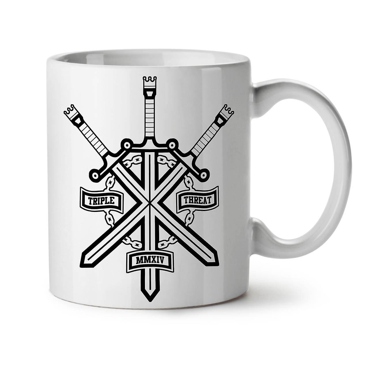 Triple Sword Tea Coffee Geek White OzWellcoda New 11 Ceramic Mug OPZTlkiwXu