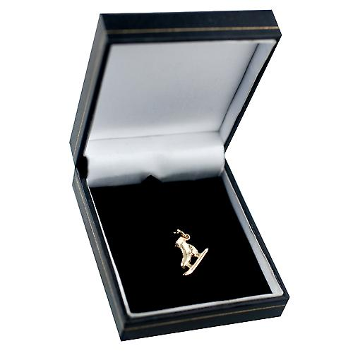 9ct Gold 13x20mm Ice skating boot pendant or charm