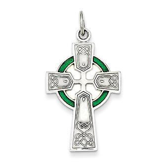 925 Sterling Silver Green Enamel Celtic Cross Charm Pendant - 33mm