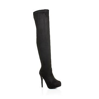 Ajvani dame høj hæl låret zip stretch skjult platform over knæet støvler
