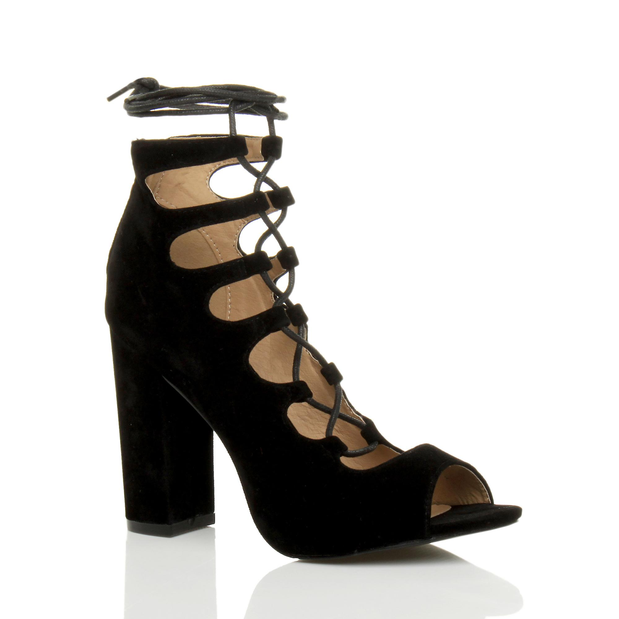 Ajvani womens high block heel lace up ghillie cut out peep toe party shoes