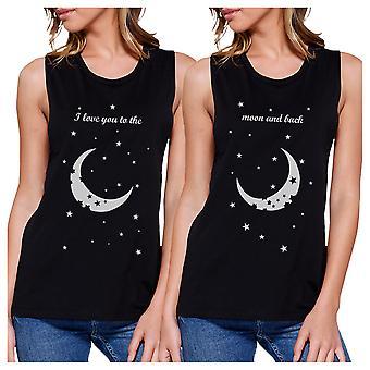 La luna y vuelta BFF juego camisas sin mangas de blusas para mujer negro