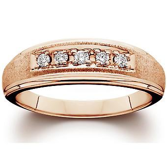 Mens Diamond Ring 14K Rose Gold