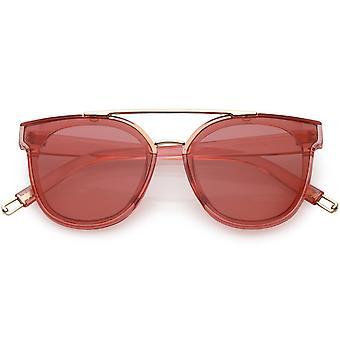 Gjennomskinnelig Hornet Rimmed solbriller metall Crossbar farge farget kvadrat linsen 57mm
