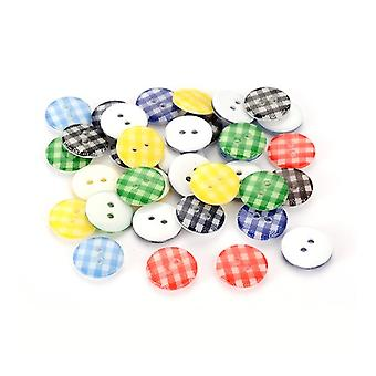 Packet 10 x Mixed Resin 13mm Round 2-Holed Patterned Sew On Buttons HA14155