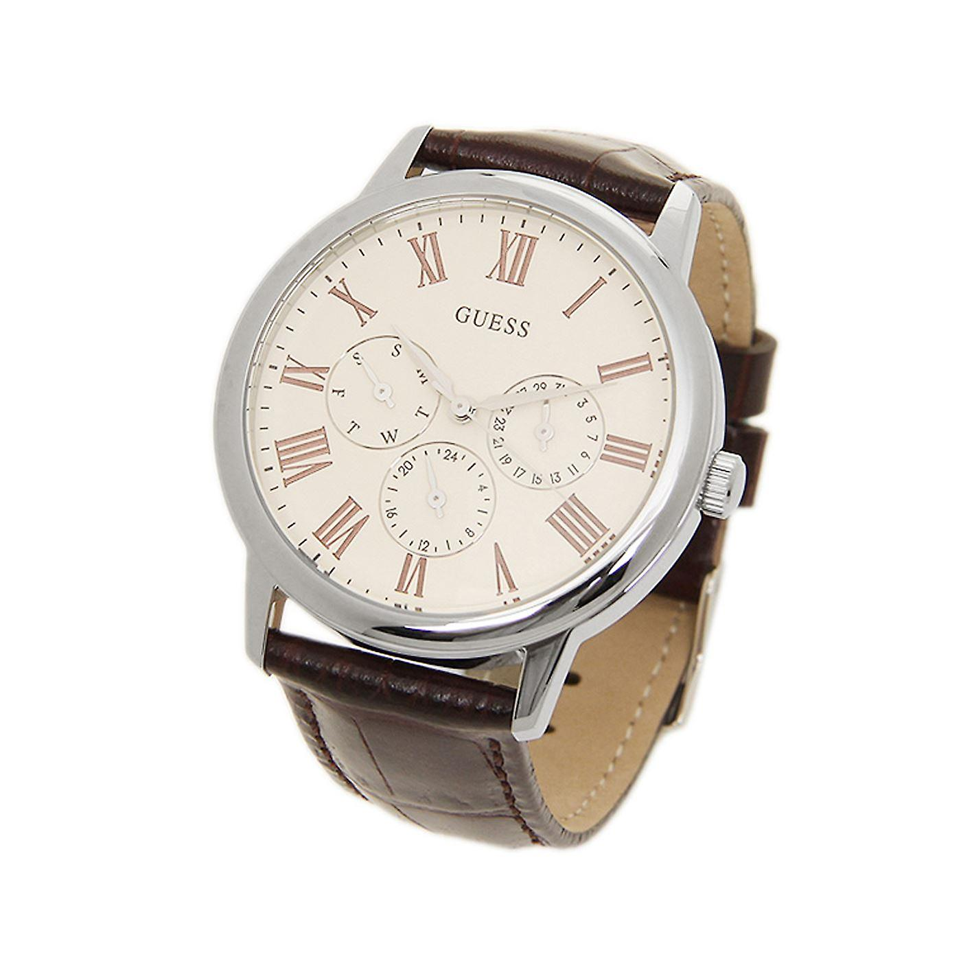 Stunning Guess Mens Watch Brown Leather Chrono Classy UK Warranty W70016G2