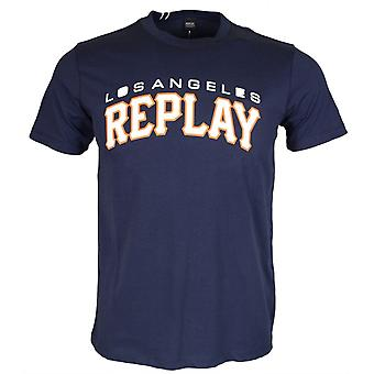 Replay Round Neck Printed Logo Navy T-shirt