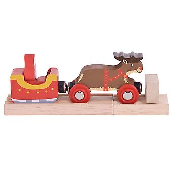 Bigjigs Rail Santa Sleigh with Reindeer - Other Rail Brands are Compatible