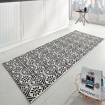 Kitchen runner flat fabric runner creation black cream 80 x 200 cm