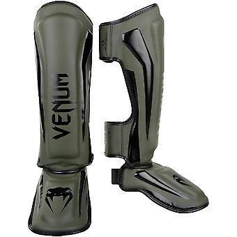 Venum Elite Lightweight Hook and Loop Shin Guards - Khaki/Black