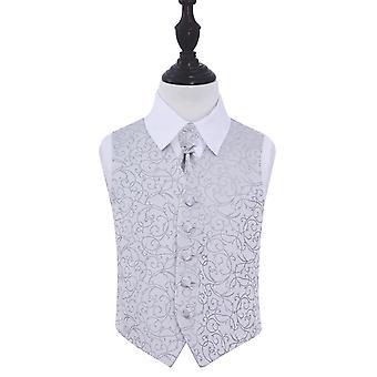 Zilveren Swirl bruiloft gilet & Cravat Set voor jongens