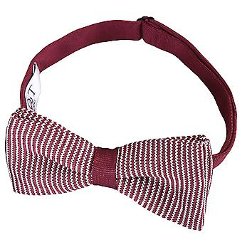 White and Burgundy Pin Stripe Knitted Pre-Tied Bow Tie