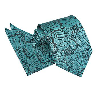 Teal Paisley Tie & Pocket Square Set