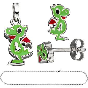 Children jewelry set little dragon 925 silver painted green with chain 42 cm