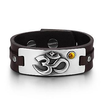 OM gamle tibetanske Amulet magiske kræfter Tag Tiger øje Gemstone mørk brun læder armbånd