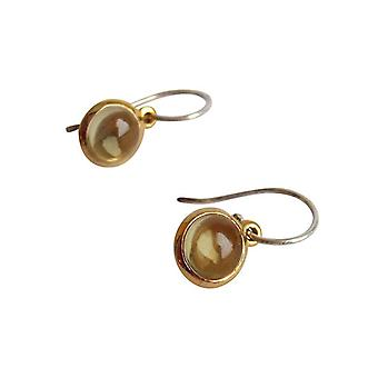 Lemon quartz earrings 925 silver plated earrings bicolor