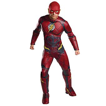 Flash Deluxe Muscle brystet Justice League Superhero Mens drakt