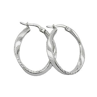Hoop earrings oval & twisted silver 925