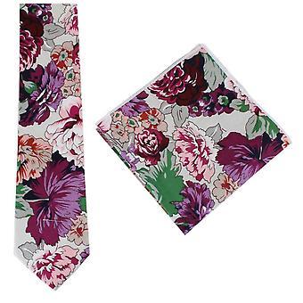 Knightsbridge Neckwear Bright Floral Cotton Tie and Pocket Square Set - Purple/Pink/Green