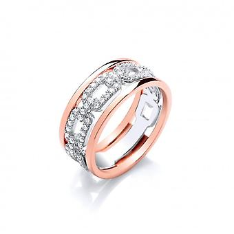 Cavendish French Silver, Rose Gold and CZ Links Ring