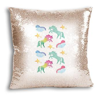 i-Tronixs - Unicorn trykt Design Champagne Sequin pute / Pillow Cover for hjem Decor - 7