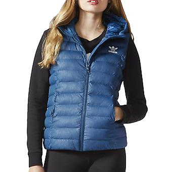adidas Originals Womens Slim Vest Padded Hooded Bodywarmer Gilet Jacket - Blue