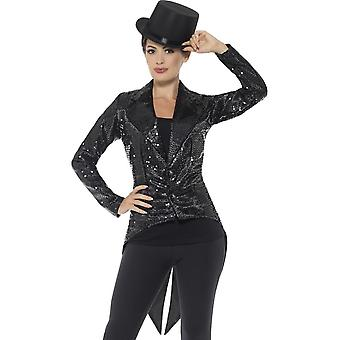 Sequin Tailcoat Jacket, Ladies, Black