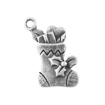 Packet 10 x Antique Silver Tibetan 21mm Christmas Stocking Charm/Pendant ZX02545