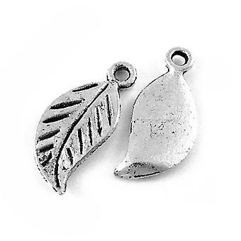 Packet 20 x Antique Silver Tibetan 17mm Leaf Charm/Pendant ZX07890