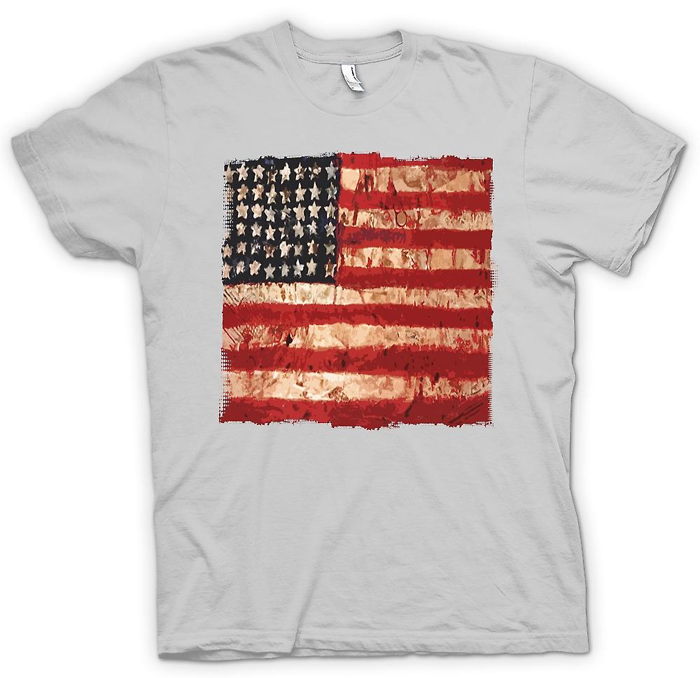 Mens T-shirt-USA Grunge drapeau