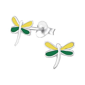 Dragonfly - 925 Sterling Silver + Epoxy Colour Colourful Ear Studs - W988X