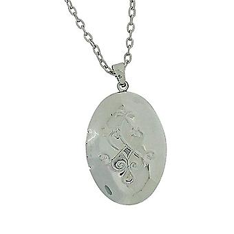 The Olivia Collection Silvertone Engraved Oval Locket Pendant On 18