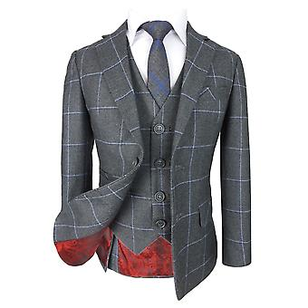 Boys Exclusive Grey and Blue Windowpane Slim Fit Check Suit