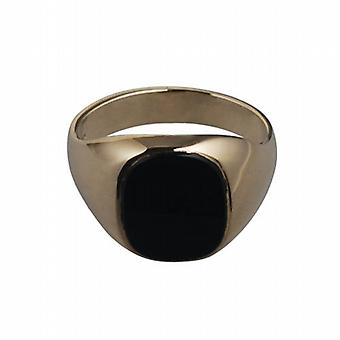 9ct Gold 14x12mm gents Onyx set oval Signet Ring Size T