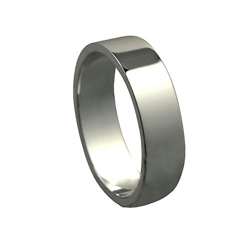 Platinum 6mm plain Flat Wedding Ring