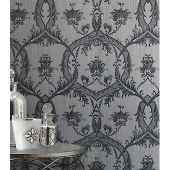 Elegant Milano 4 Damask Silver Wallpaper Wall Decoration 10.05m x 0.53m