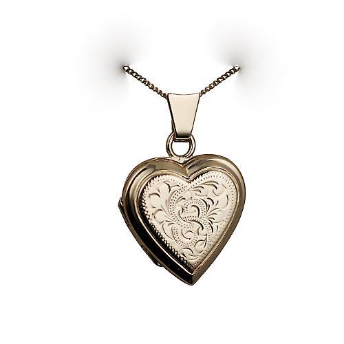 9ct Gold 17x17mm hand engraved flat heart Locket with a curb Chain 16 inches Only Suitable for Children